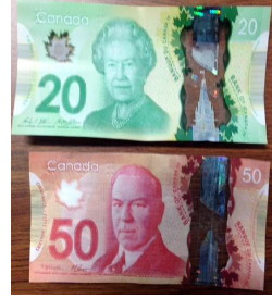 Example of a counterfeit bill circulated in Olds in August 2015.